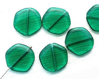 19mm Teal green Hexagon large beads, czech glass geometrical pressed beads - 6Pc - 3065