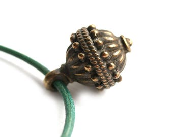 Large Drop Boho charm, Antique Brass Ornament round focal bead, Lead Free, 2mm hole  - 1Pc - 1860