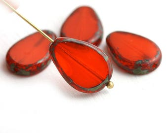 Opal Orange oval teardrop beads, Flat Drop, Picasso fire polished tangerine czech glass beads - 18x12mm - 1876