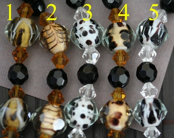 Animal Print Design Lampwork Glass Hand Made/Cut Faceted Round Beads(6 beads pack) L10111