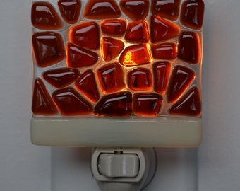 Sunset Coral and French Vanilla Fused Glass Night Light