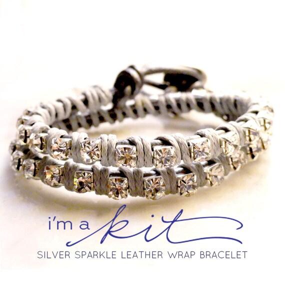 sparkle leather wrap bracelet KIT -  silver
