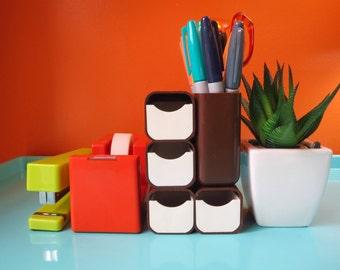 Vintage 1970s Mid Century Kartell Plastics Era MOD Retro Desk Caddy Tray Brown