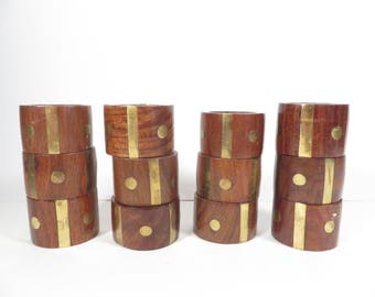 Vintage Decorative Wood Napkin Rings - Set of 8 Carved Wood Napkin Rings