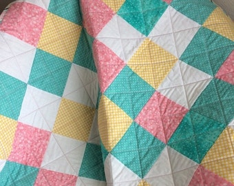 """HOLIDAY SALE It's a 36"""" X 36"""" Pastel Delight Quilt For Baby In Aqua, Pink, Yellow and White"""