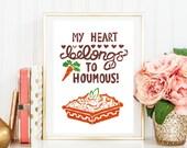 "Original Handmade Lino Cut Art Print - Signed & Mounted - 12x10"" - 'My heart belongs to houmous' - Vegan - Colour"