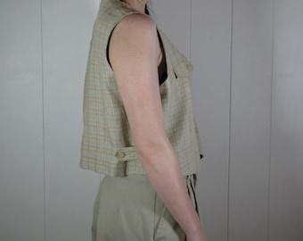 Vintage Geoffrey Beene plaid short linen vest size small