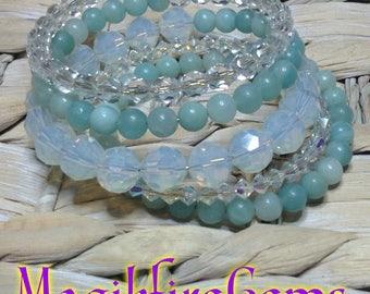 Amazonite and Moonstone wrap bracelet