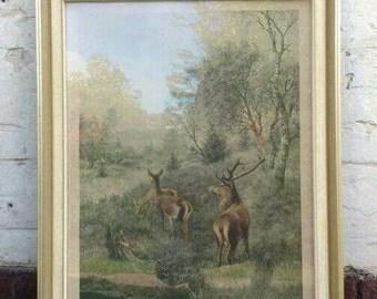 SALE!!!Bild Gemälde antik shabby vintage brocante painting retro Bilderrahmen Wald gold