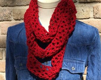 Open Crochet Infinity Scarf