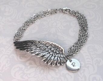 Personalized Angel Wing Jewelry-Angel Wing Bracelet, Silver Wing Jewelry, MULTI STRAND Bracelet, Silver Bracelet Jewelry, HANDSTAMPED Gift