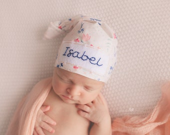 Baby hat with name- baby girl coming home outfit -newborn headband- baby gift - baby girl- hospital hat -newborn personalized hat