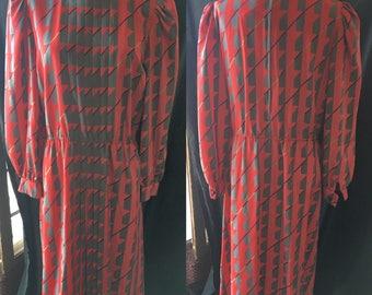 Retro Sassoon dress geometric pattern 1980 medium size 12 13