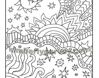 Sun coloring page Etsy