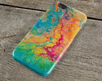 Colourful Abstract iPhone Case - Green, teal, pink, yellow, blue Fluid Art iPhone Case for iP4, iP5/S/SE, iP5C, iP6/S, iP6+/S, iPod Touch 5