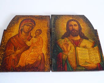 Beautiful Vintage Religious Diptych Alter Piece with Madonna and Child and Jesus - Floyd Jones Vintage