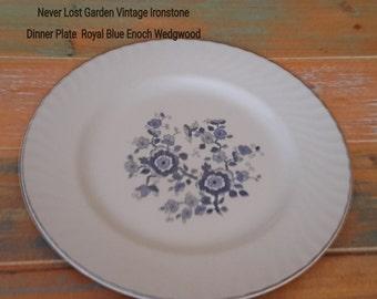 Dinner Plate Royal Blue Ironstone Enoch Wedgwood Tunstall Vintage