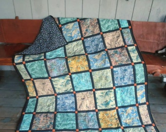 Wildlife Batik Quilt, Alaska Wildlife Quilt, Batik Patchwork Quilt, Multicolor Quilt