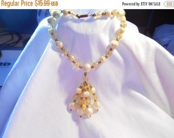 50% OFF SALE Pastel Shades of Yellow Tassel Flapper Style Beaded Necklace