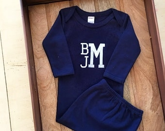 Baby Gifts. Baby Boy Monogrammed Navy blue Gown. Monogram Name. New baby shower present. Boutique baby clothing. Embroidered. Baby Boy Gifts