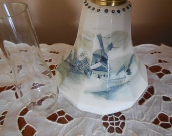 1890 Miniature Pairpoint Glass Co. USA - Delft Miniature Oil Lamp