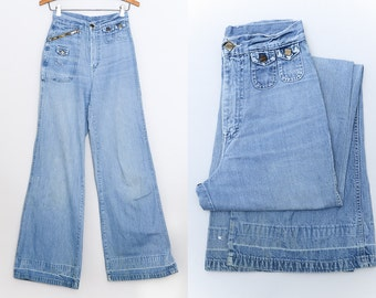 70s Bell Bottoms High Waisted 16th Street Elephant Bell Stash Pocket Hippie Jeans