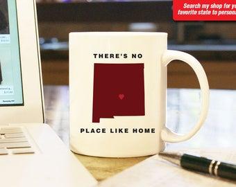New Mexico NM Coffee Mug Cup, No Place Like Home, Gift Present, Wedding Anniversary, Personalized Color Custom Location Albuquerque Sante Fe