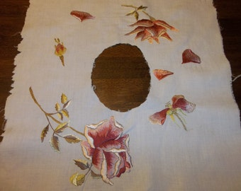Antique SOCIETY SILK Floral Silk Applique Collar..Victorian..Free Shipping