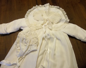 Magnificent Mid Century Silky Baby Baptism Cape & Bonnett...FRENCH...1950 Era...Free Shipping