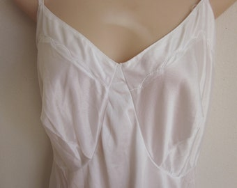 Vintage Full Slip white Nylon nightgown sexy plus size lingerie Size 46 bust