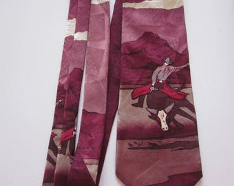 Silk Men's Tie Tabasco Western Cowboy Bull Rider PBR rodeo USA made