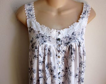 sweet cotton nightgown cozy  button floral front prairie style M L
