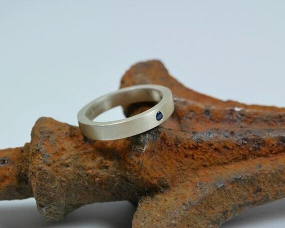 Mens Band - Mens Ring - Sterling Silver Mens Band - Sapphire and Sterling Silver Mens Ring