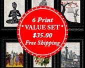 Christmas SALE, 6 Prints for 35.00, Free Shipping, Dictionary Art Print, Mix and Match, UpCycled Art Print, Christmas Gift, Free Print