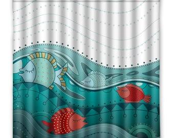 Nautical Beach House Shower Curtain   Fish, Ocean Waves   Shower Curtain    Ocean Print