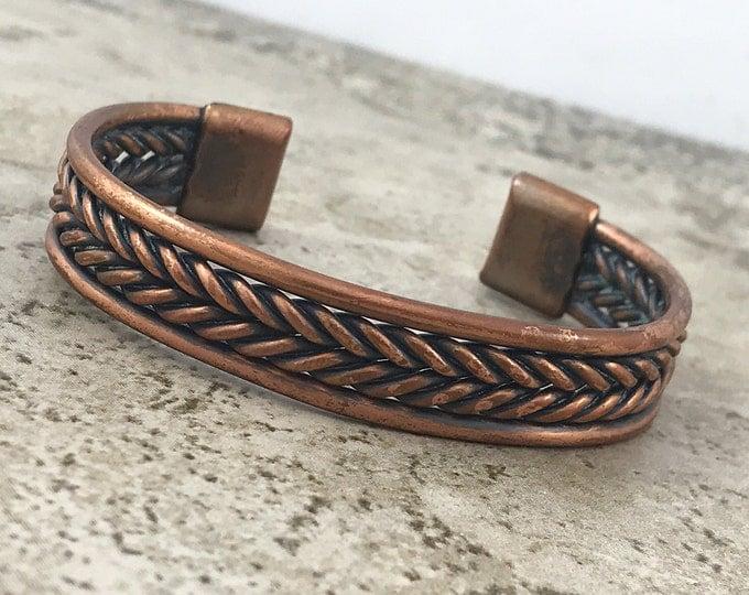 SPRING (SALE 50%) Vintage Copper Braided Cuff Bracelet, Copper Twist Vintage Bracelets, Southwest Cooper bracelet. Tribal Cuff Bracelet Hand