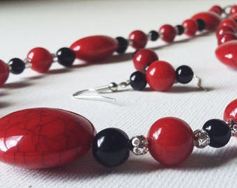 Red crackle, black glass pearl, and sterling silver filigree Necklace and Earring set