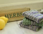 Knit Wash Clothes - 100% USA Cotton - Dish Rag - Green and Purple Washrags