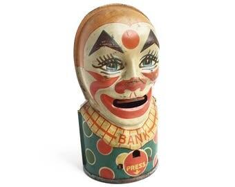 Vintage Tin J. Chein & Co. Tin Litho Clown Bank, creepy clown with retractable tongue, vintage tin toy