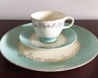 Turquoise China Tea Cup Saucer and Dinner Plate / Single Place Setting