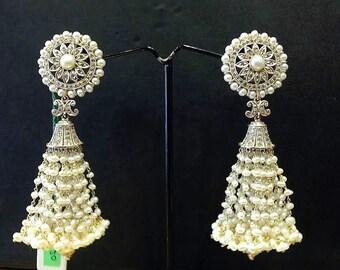 Sale 2.25ct Diamond Freshwater Pearl 2.6 inch long Chandelier Tassel Earrings 18k Gold