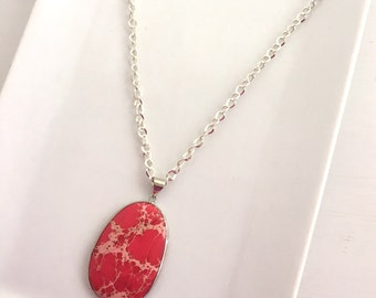 Long Red Necklace Red Jasper Pendant Silver Chain