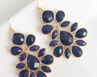 Navy Blue Chandelier Statement Earrings