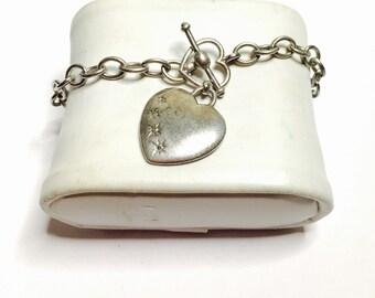 Vintage silver & diamonds Heart Bracelet, stamped .925, Clearance SALE , Item No. S100