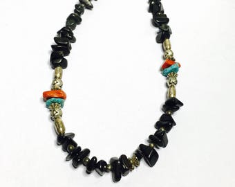 Vintage Native Necklace, Beaded, Onyx, Turquoise, Coral & Silver Tone, Clearance Sale, Item No. S250