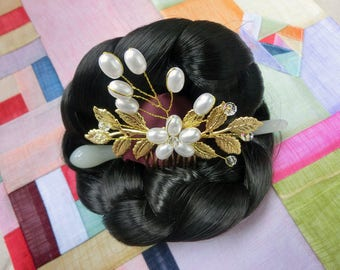 Hanbok Hair pin Korean traditional accessorie for Hanbok _gold leaves #01