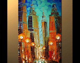 Painting on canvas Chicago heavy palette knife texture by P. Nizamas ready to hang