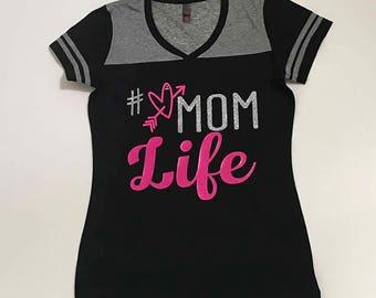 Varsity V-neck Junior Cut #love Mom Life T-shirt