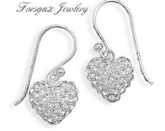 Sparkling Sterling Silver Swarovski Crystal Heart Dangle Earrings