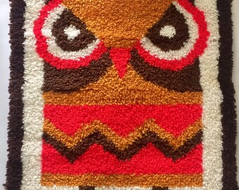 Vintage 1960s 70s Orange Yellow Brown Latch Hook Rug Wall Hanging